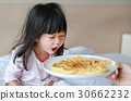 child girl looking Healthy breakfast egg omelet 30662232