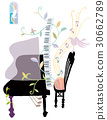 钢琴 音乐 白底 30662789