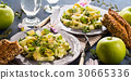 Green Avocado cucumber served healthy salad 30665336