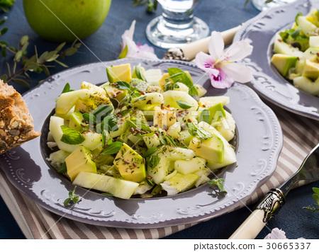 Green Avocado cucumber served healthy salad 30665337