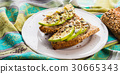 Avocado sandwich for healthy snack with seeds 30665343