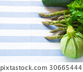 Green vegetables on table cloth 30665444