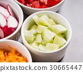 Mix of vegetable bowls for salad or snacks 30665447