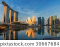 Sunrise and bridge in Singapore City  30667684
