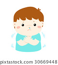 Little boy with a cold shivering vector. 30669448