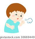 Little boy coughing vector cartoon. 30669449