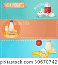 Milk Products Horizontal Banners Set 30670742
