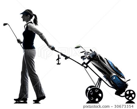woman golfer golfing silhouette 30673354