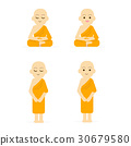 Monk cartoon set peaceful isolated white 30679580