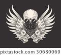 Vector illustration of a skull racer in sunglasses 30680069