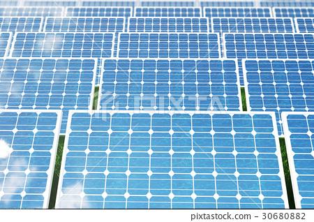 3D illustration solar panels reflecting the 30680882
