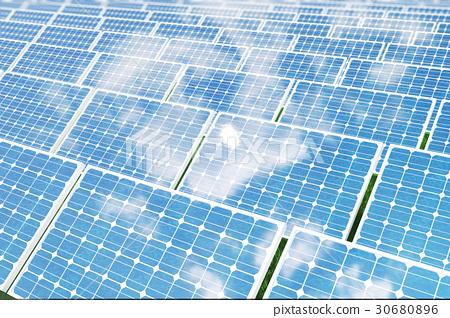 3D illustration solar panels reflecting the 30680896