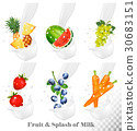 Set of different milk splashes with fruit, 30683151