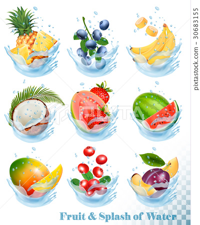 Big collection of fruit in a water splash.  30683155