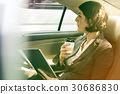 Businesswoman Using Tablet Car Inside 30686830