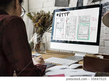 Website development layout sketch drawing 30687020