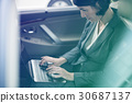 Photo Gradient Style with Businesswoman Working Using Laptop Car Inside 30687137
