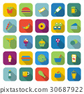 Fast food color icons with long shadow 30687922