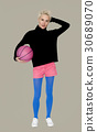 Caucasian Blonde Woman Holding Basketball 30689070