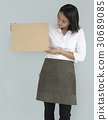 Woman Holding Cork Board Copy Space Concept 30689085