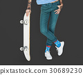 Tattoo Skater Holding Skateboard Extreme Sport Style 30689230
