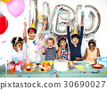 Happiness group of cute and adorable children having birthday party 30690027