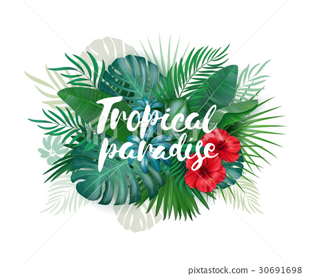 Tropical paradise label over background with 30691698