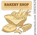 Bakery food item bread, baguette in basket 30692629