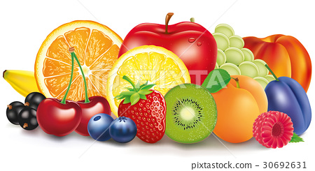 Group of fresh fruit - apple, lemon, apricot 30692631