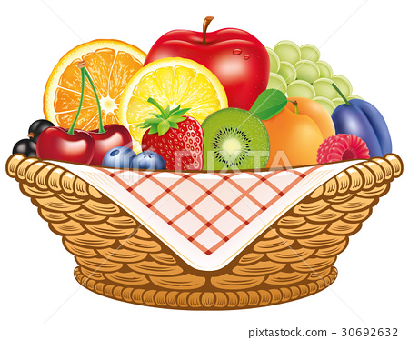 Group of fresh fruit in basket 30692632