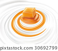 milk cream yogurt swirl with caramel candy 30692799