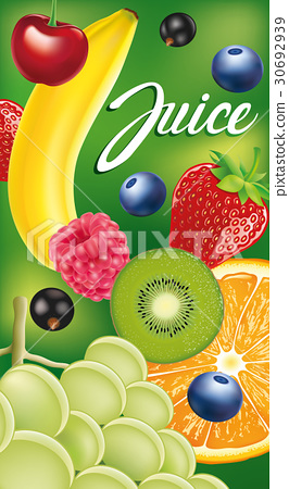 label packaging with different fruits and berries 30692939