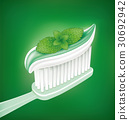 whitening toothpaste with mint on toothbrush 30692942