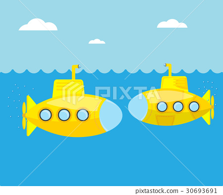 yellow submarine in blue sea 30693691