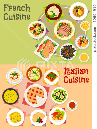 Italian and french cuisine dishes icon set design 30694910