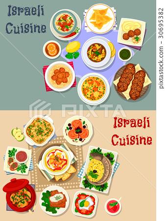 Israeli cuisine Shabbat dinner icon set design 30695382