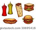 sketch, vector, burger 30695416