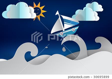 paper cut art of Boat sailing in the sea 30695899