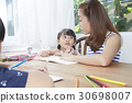 mom happily helps daughter doing homework 30698007
