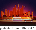 Car traces in modern city with night illumination 30700078