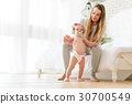 Cute toddler learning to go at home 30700549