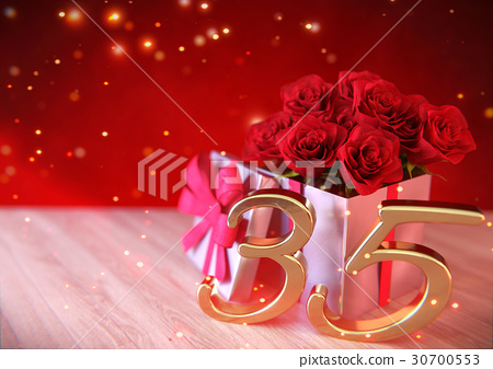 birthday concept with red roses in the gift on 30700553