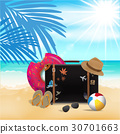 Travel Bag on Beach Background, Travel Time 30701663