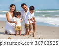 Mother Father Parents Boy Children Family Beach 30703525