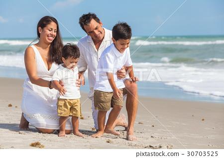 Mother Father Parents Boy Children Family Beach 30703525