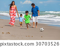 Parents Boy Children Family Beach Football Soccer 30703526