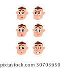 Face expressions set - upset, angry, surprised 30703650