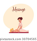Young woman having relaxing back massage lying on 30704565