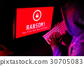 Computer screen with ransomware attack alert 30705083
