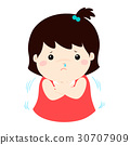 Little girl with a cold shivering cartoon vector. 30707909